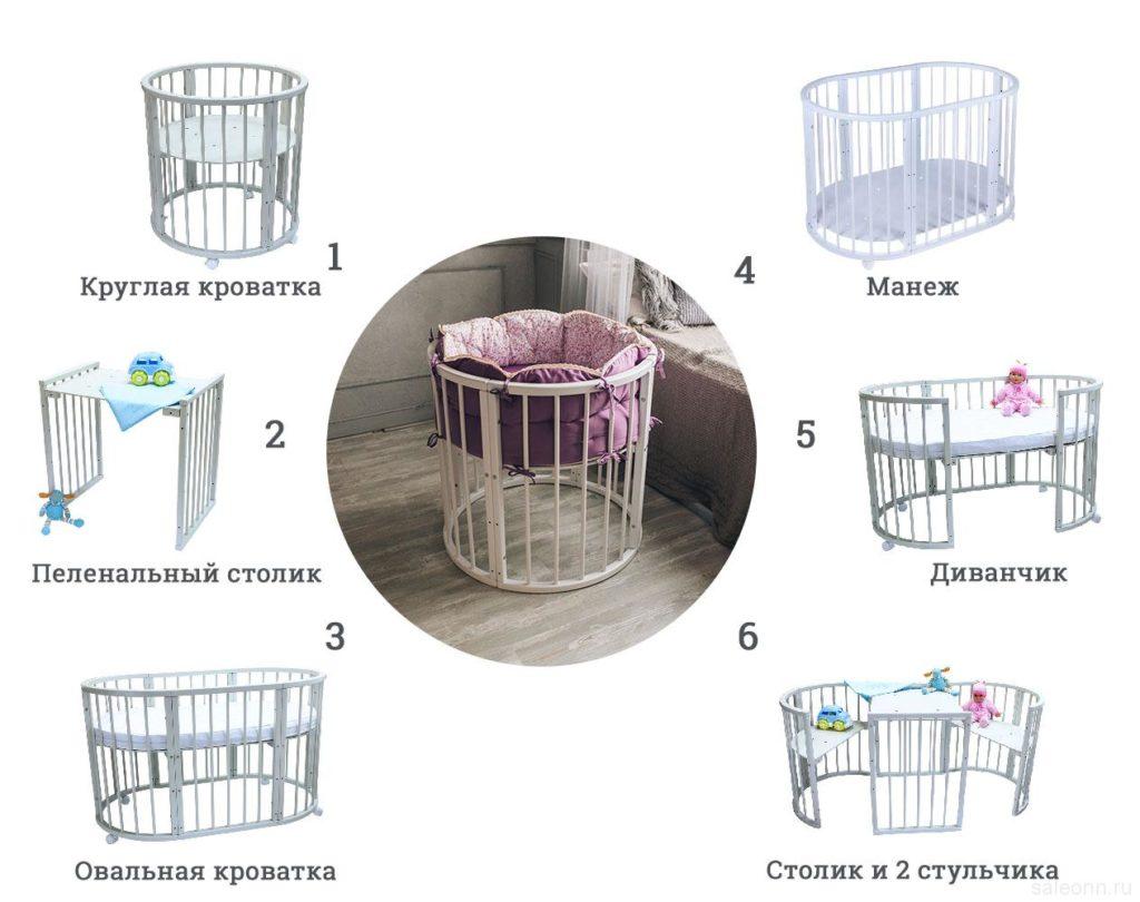 овальной кроватки-трансформера