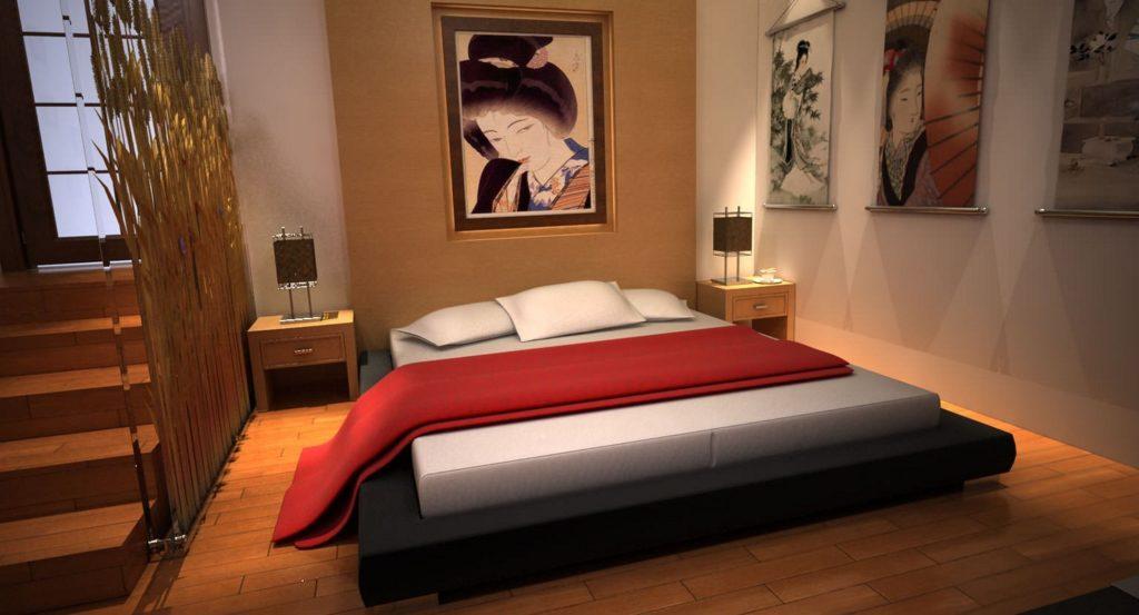 Интерьер в восточном стиле кровать подиум