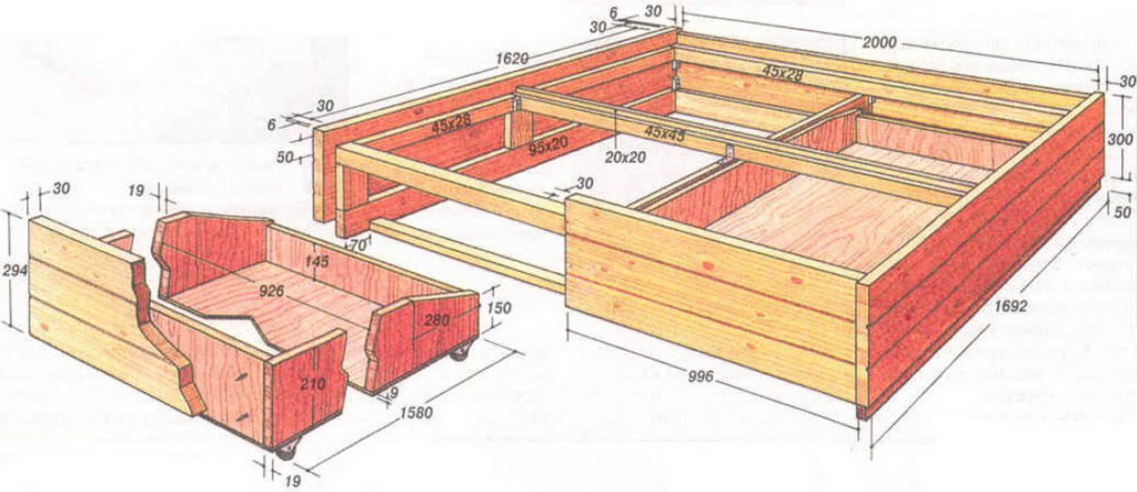 Подиум кровать чертеж