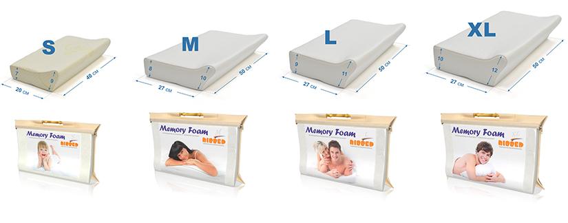 Размеры ортопедической подушки