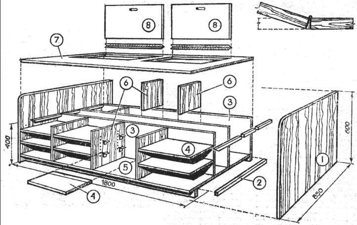 кровать подиум чертеж проекта